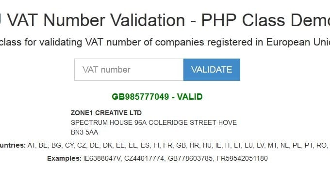 EU VAT Number Validation for PHP